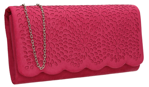 SWANKYSWANS Allison Suede Clutch Bag Fuschia Cute Cheap Clutch Bag For Weddings School and Work