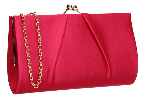 SWANKYSWANS Katy Satin Clutch Bag Fuschia Cute Cheap Clutch Bag For Weddings School and Work