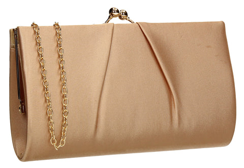 SWANKYSWANS Katy Satin Clutch Bag Champagne Cute Cheap Clutch Bag For Weddings School and Work