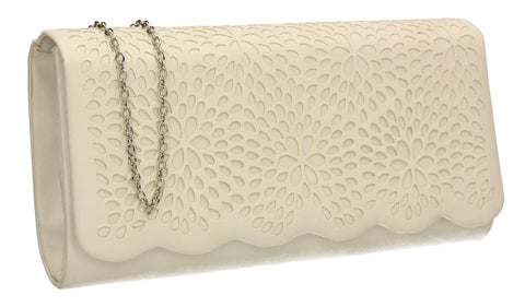 SWANKYSWANS Allison Suede Clutch Bag White Cute Cheap Clutch Bag For Weddings School and Work