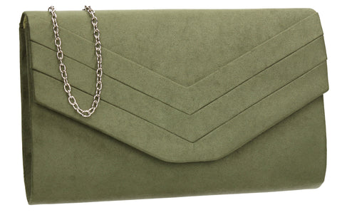 SWANKYSWANS Samantha V Detail Clutch Bag Khaki Cute Cheap Clutch Bag For Weddings School and Work