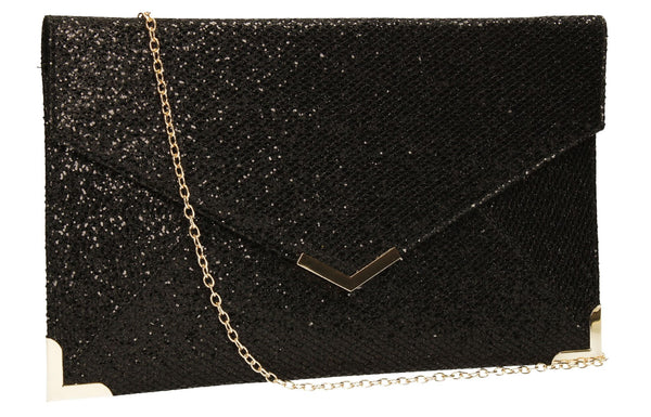 SWANKYSWANS Korie Clutch Bag Black Cute Cheap Clutch Bag For Weddings School and Work