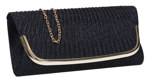 SWANKYSWANS Aleena Glitter Clutch Bag Navy Cute Cheap Clutch Bag For Weddings School and Work