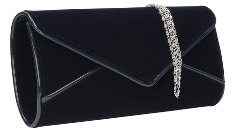 SWANKYSWANS Perry Velvet Clutch Bag - Navy Blue Cute Cheap Clutch Bag For Weddings School and Work