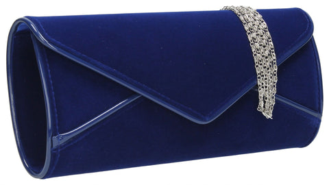 SWANKYSWANS Perry Velvet Clutch Bag - Royal Blue Cute Cheap Clutch Bag For Weddings School and Work