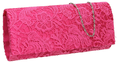 SWANKYSWANS Rachel Lace Clutch Bag Fuschia Cute Cheap Clutch Bag For Weddings School and Work