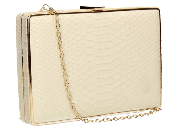SWANKYSWANS Sandy Snakeskin Box Clutch White Cute Cheap Clutch Bag For Weddings School and Work