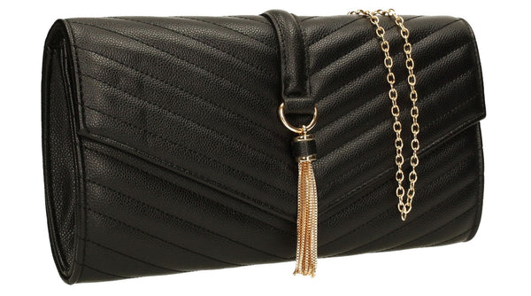 SWANKYSWANS Temperley Clutch Bag Black Cute Cheap Clutch Bag For Weddings School and Work