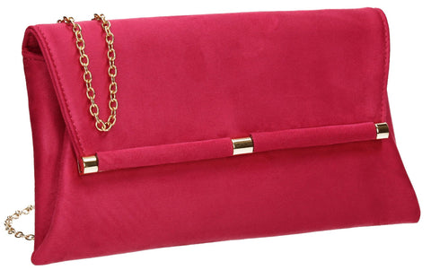 SWANKYSWANS Pamela Clutch Bag Fuschia Cute Cheap Clutch Bag For Weddings School and Work