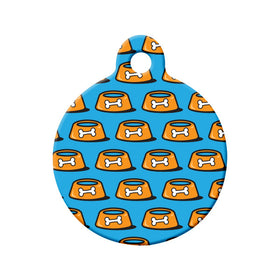 Pet Bowl Pattern Circle Pet ID Tag
