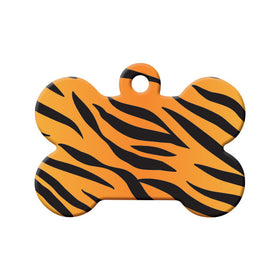 Tiger Pattern Bone Pet ID Tag