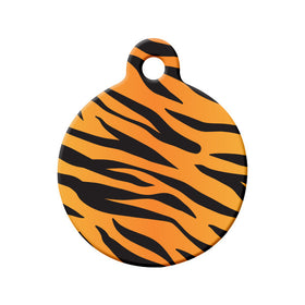 Tiger Pattern Circle Pet ID Tag