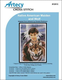 Artesy Cute Native American maiden and wolf cross stitch pattern