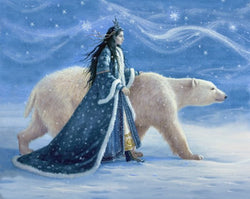 Heaven and Earth Designs Snow Princess polar bear fantasy cross stitch pattern