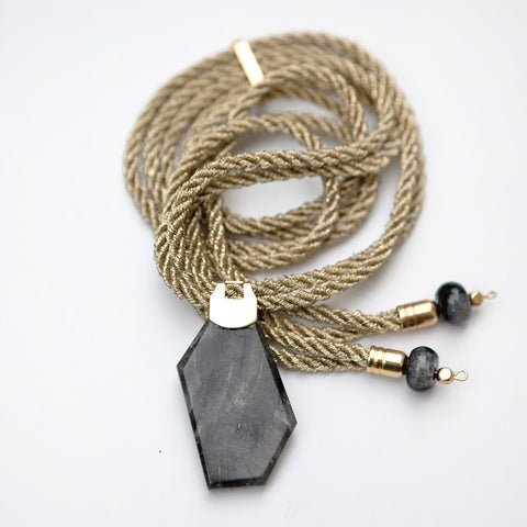 Black Quartz in Gold Necklace