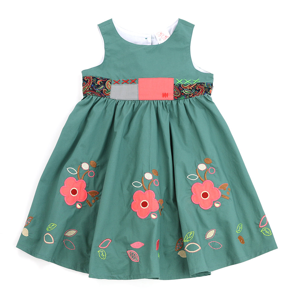 FALLING LEAVES Dress-VIRIDIAN GREEN