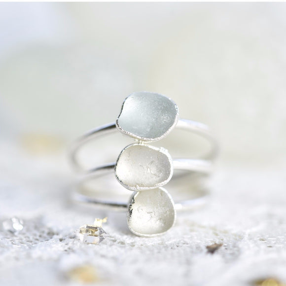 DAINTY ENGLISH SEA GLASS RING IN FINE SILVER