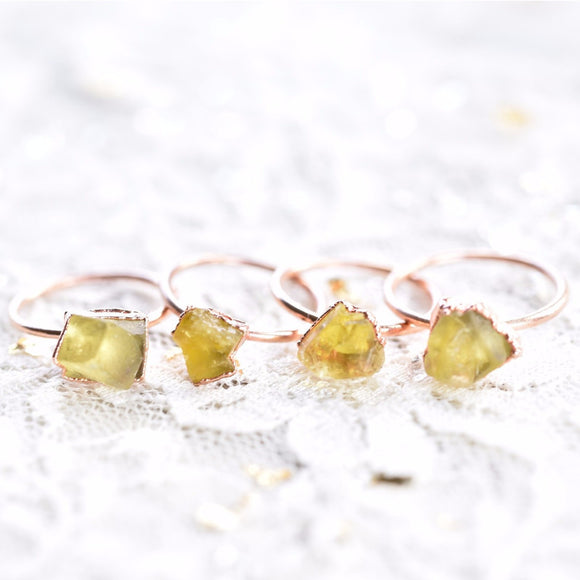 RAW ENGLISH FLUORITE CRYSTAL RINGS IN COPPER