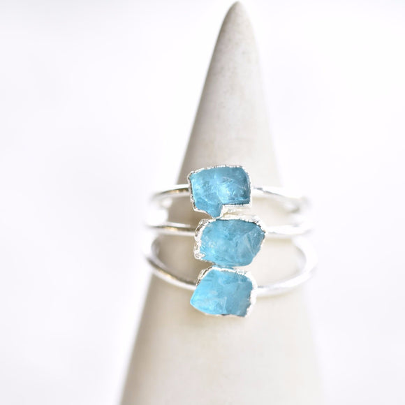 RAW BLUE APATITE RING IN FINE SILVER