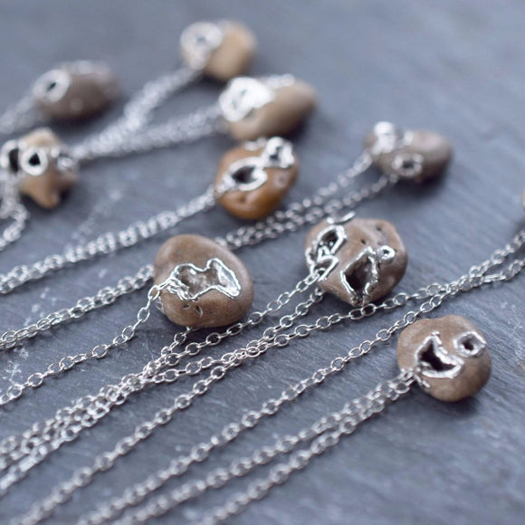 RARE ENGLISH 'HAG STONE' TALISMAN NECKLACES IN FINE SILVER