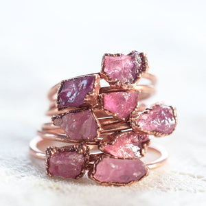 Rough pink tourmaline ring