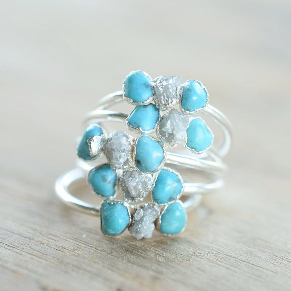 THREE STONE TURQUOISE AND DIAMOND RING IN FINE SILVER