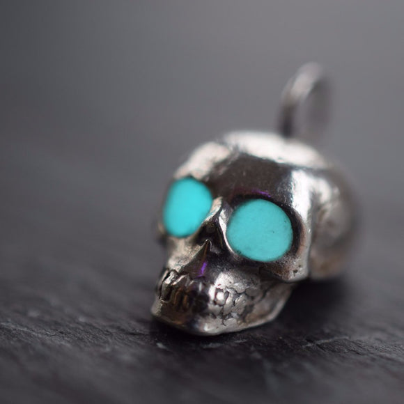 GLOW IN THE DARK SILVER SKULL NECKLACE IN FINE SILVER