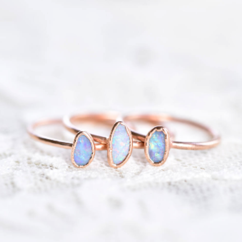 AUSTRALAIN OPAL RING IN RECYCLED COPPER (SMALL STONE VERSION)