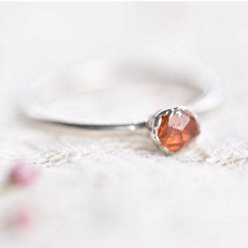RAW SPESSARTINE GARNET CRYSTAL RING IN FINE SILVER
