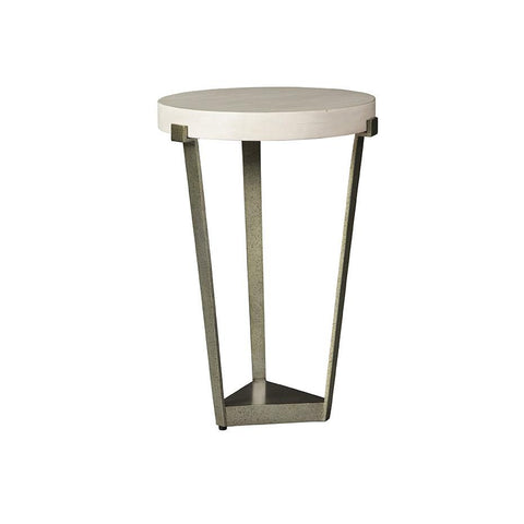 Cream Top Side Table with distressed base in metal