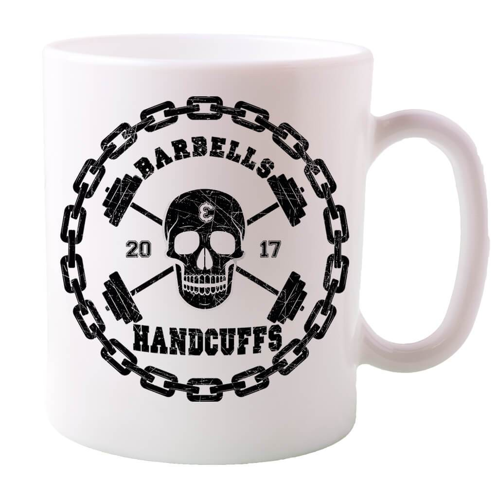 BARBELLS AND HANDCUFFS SKULL LOGO COFFEE MUG
