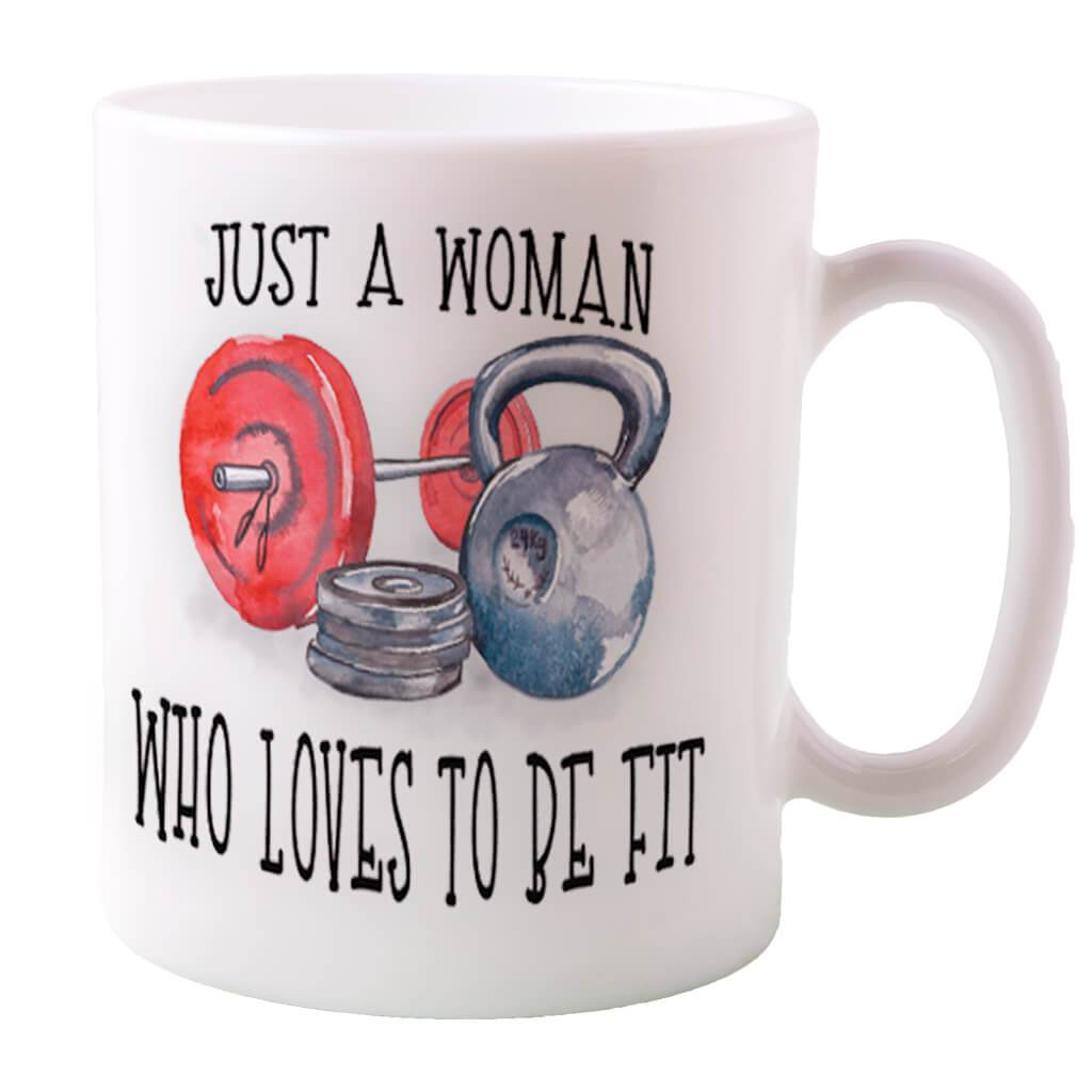 JUST A WOMAN THAT LOVES TO BE FIT COFFEE MUG