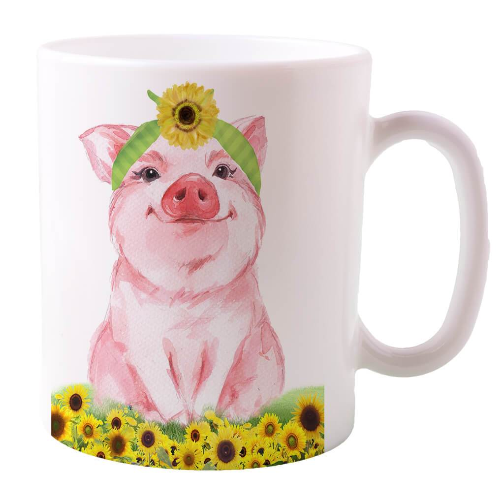 PIG IN SUNFLOWERS COFFEE MUG