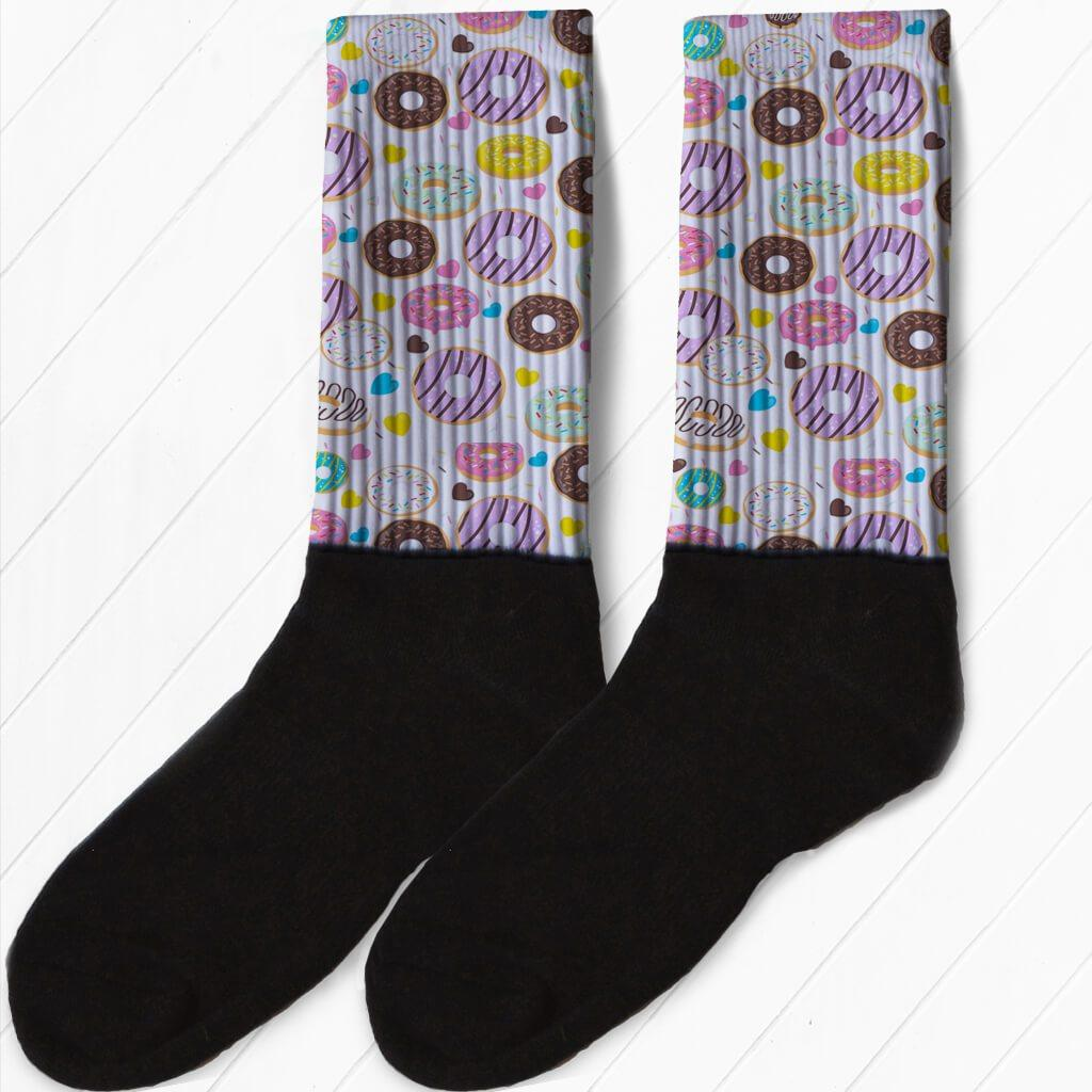 DOUGHNUTS EVERYWHERE WATERCOLOR STYLE DONUT ATHLETIC OR COMPRESSION SOCKS