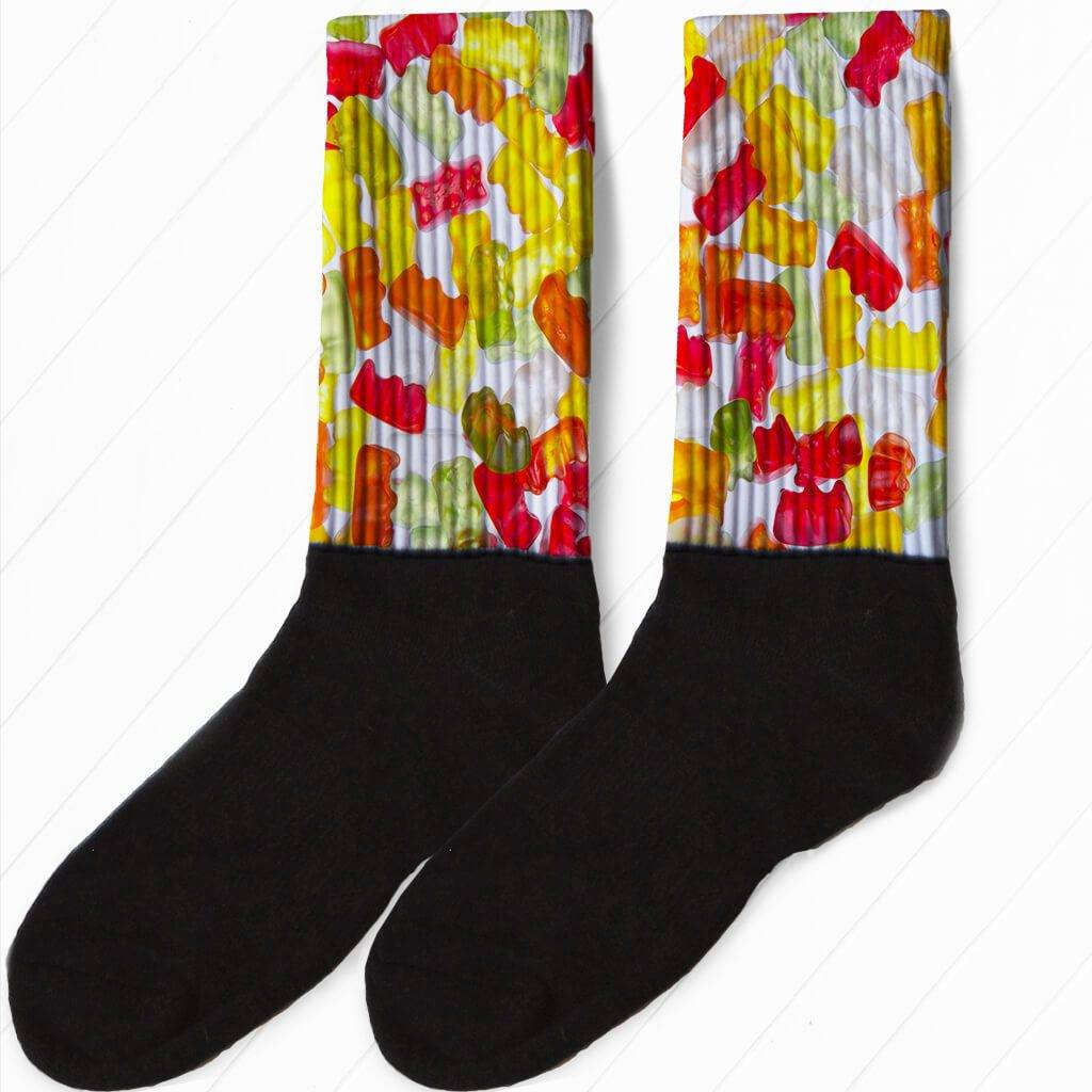 FULL COLOR GUMMY BEAR CANDY GRAPHIC ATHLETIC OR COMPRESSION SOCKS