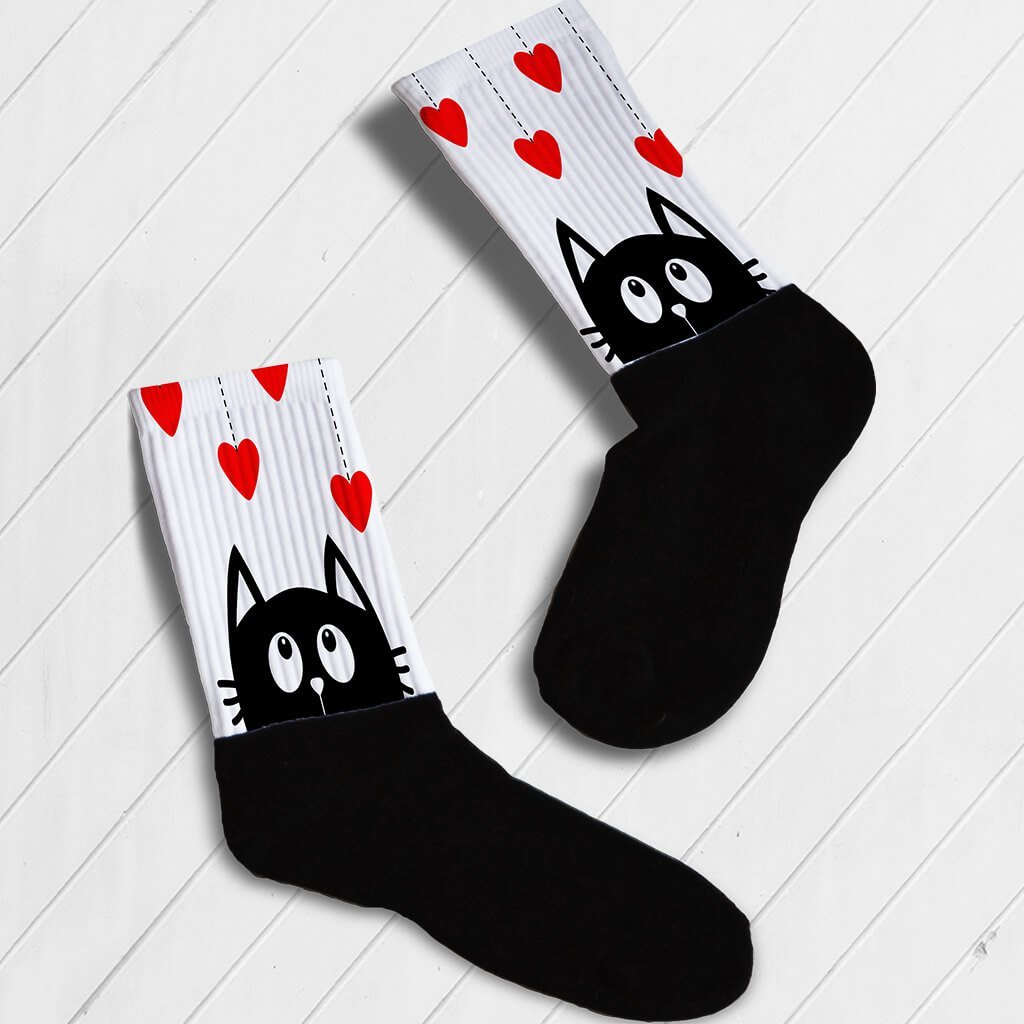 KITTY IN LOVE ATHLETIC OR KNEE HIGH SOCKS