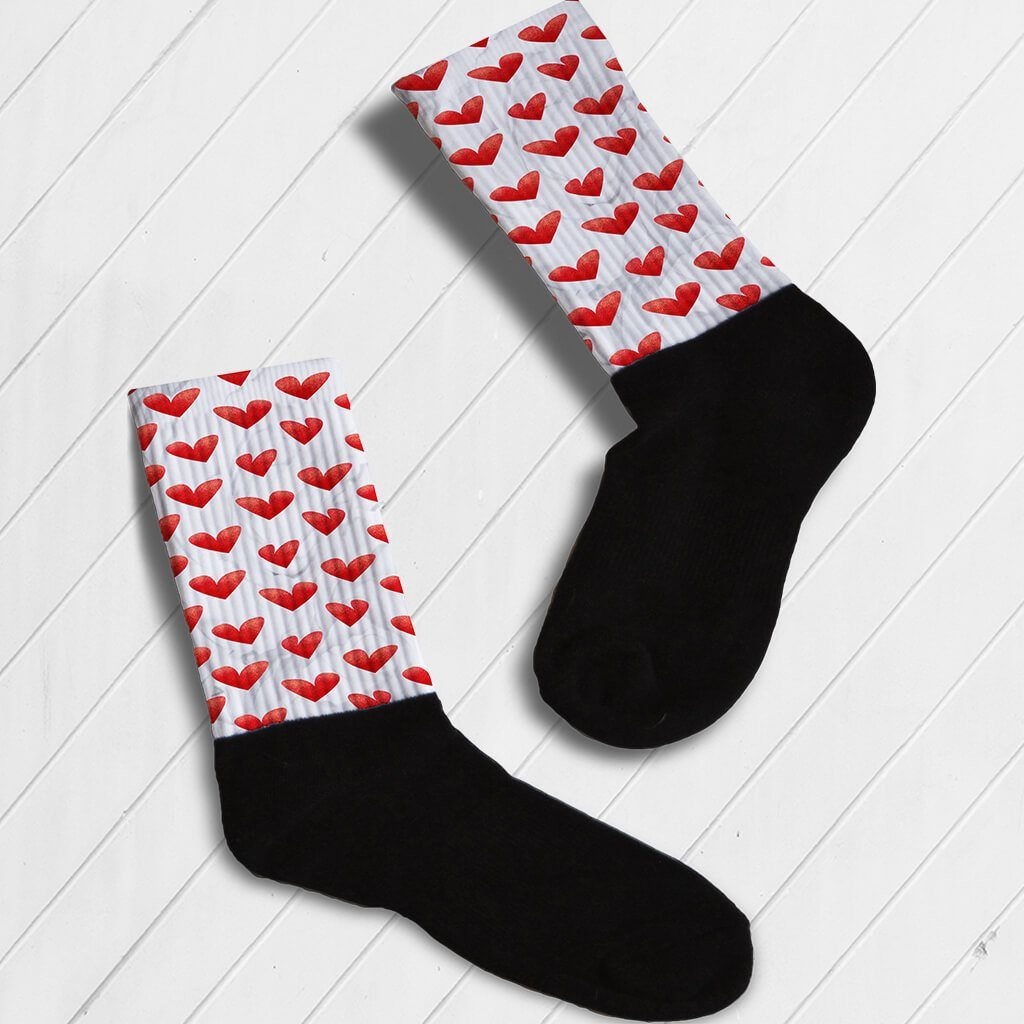 RED HEART WATERCOLOR PRINT ATHLETIC OR KNEE HIGH SOCKS