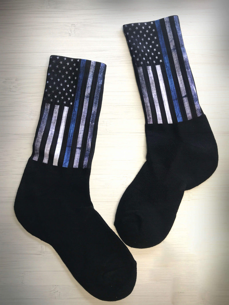 THIN BLUE LINE FLAG CREW OR KNEE SOCKS