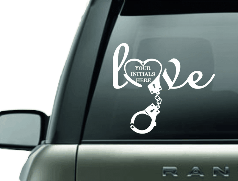 LOVE MONOGRAM POLICE HANDCUFF VINYL DECAL