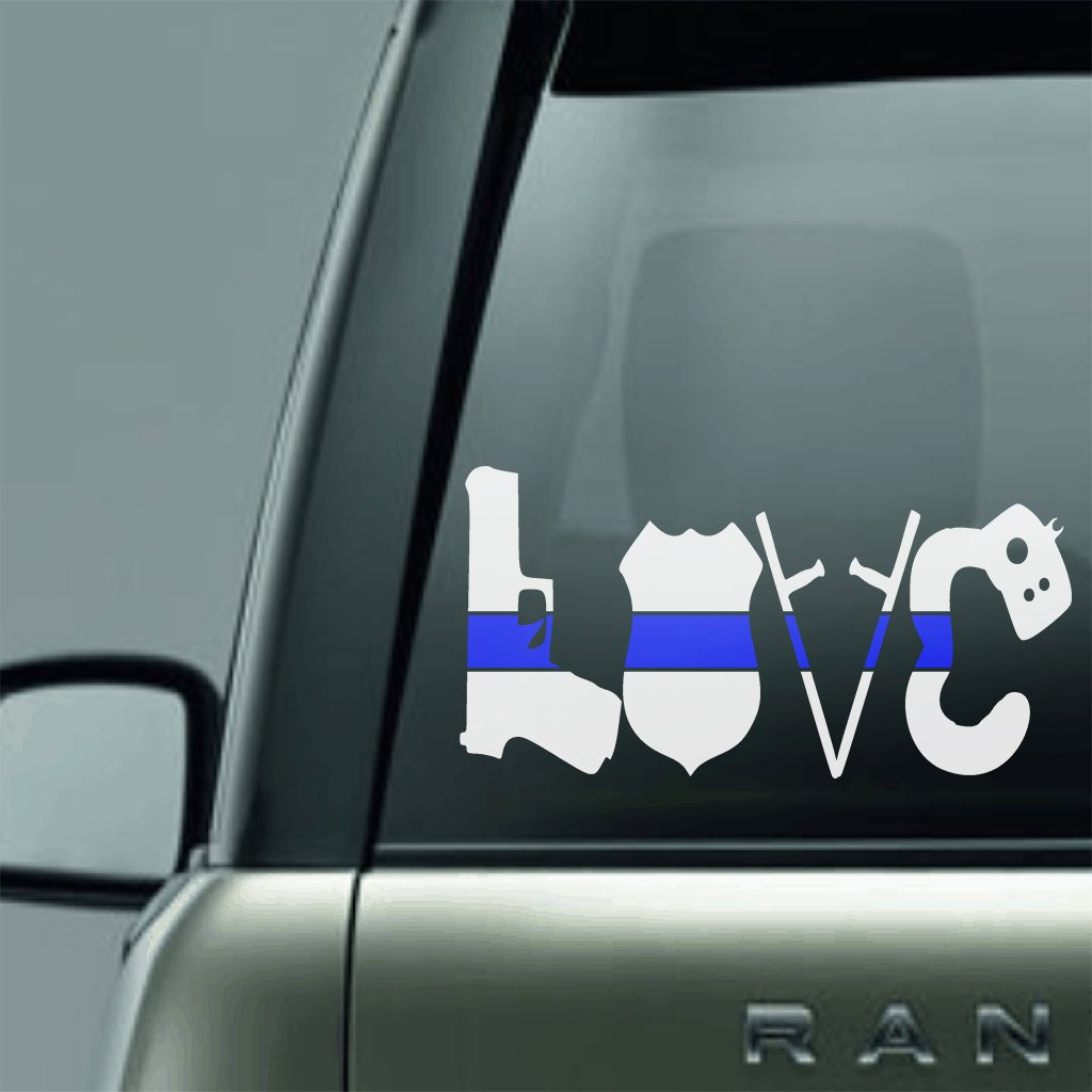 POLICE LOVE BLUE LINE LAW ENFORCEMENT SUPPORT VINYL DECAL