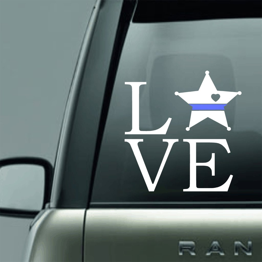 SQUARE DEPUTY LOVE BLUE LINE LAW ENFORCEMENT SUPPORT VINYL DECAL