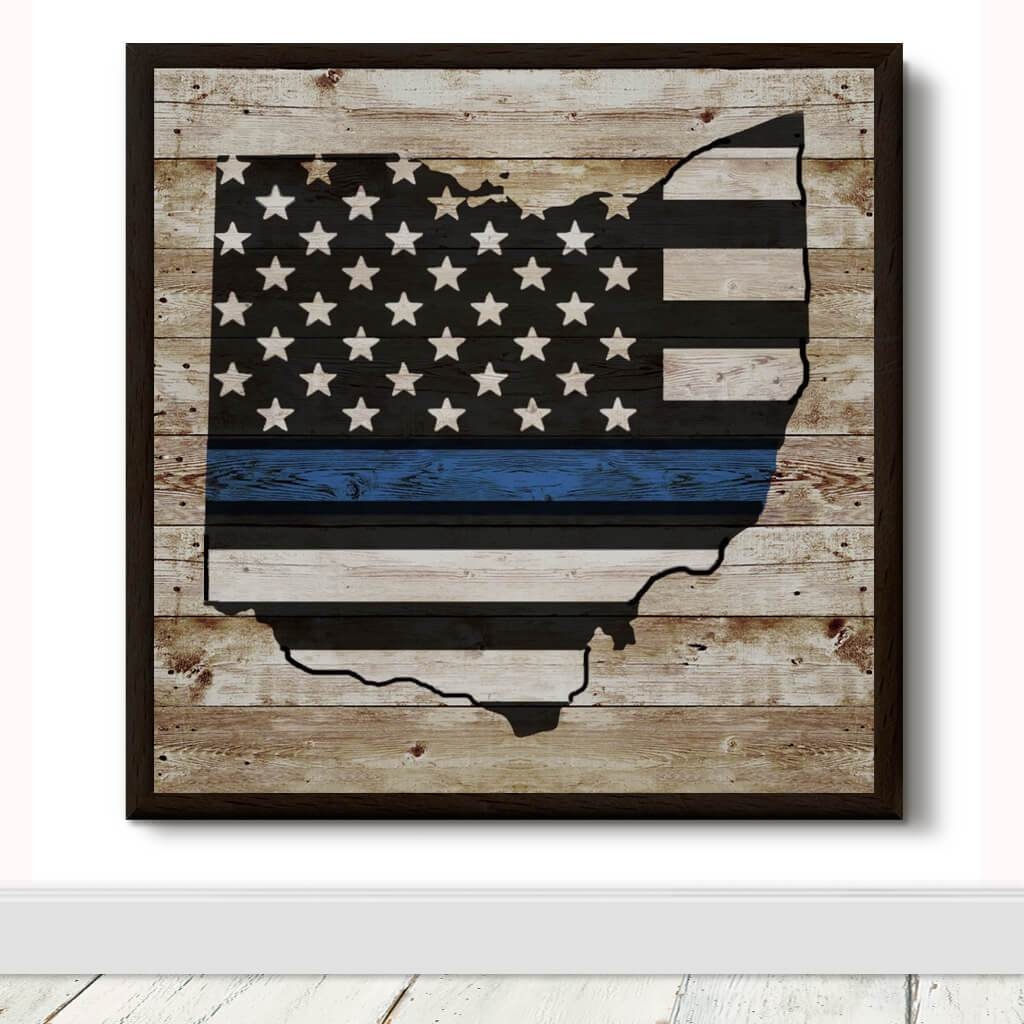 STATE BLUE LINE FLAG DECORATIVE METAL WALL ART