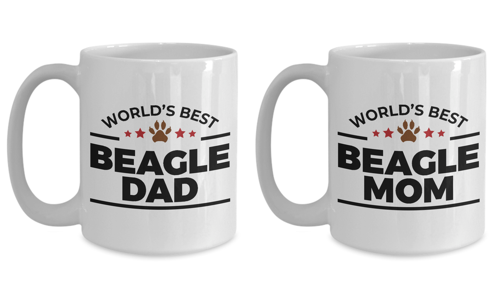 World's Best Beagle Dad and Mom Couple Ceramic Mug - Set of 2 His and Hers