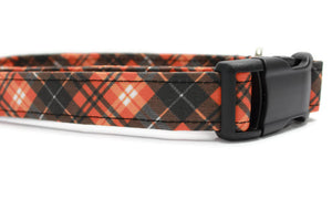 Pumpkin Spice Plaid Fabric Dog Collar