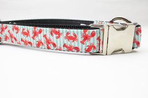 Lobsters and Crabs Canvas Dog Collar