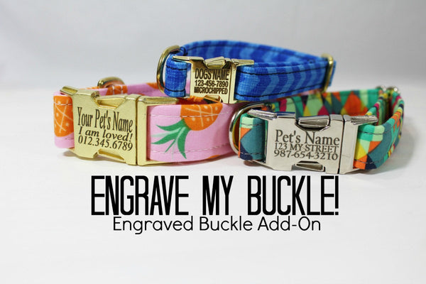 "Engrave My Metal Buckle for 5/8"", 3/4"" and 1"" metal buckles - Dog Collar ADD ON (please click into listing for choices)"