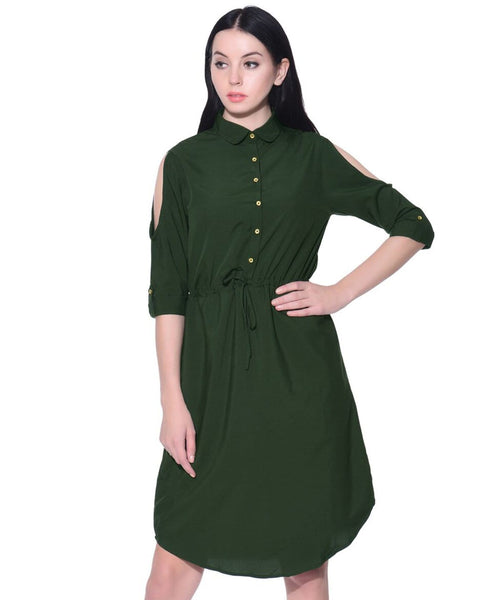 Green High Neck Buttoned Ruffle Dress - Uptownie