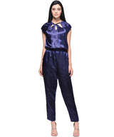 Blue Satin Neck Cut-out Jumpsuit - Uptownie