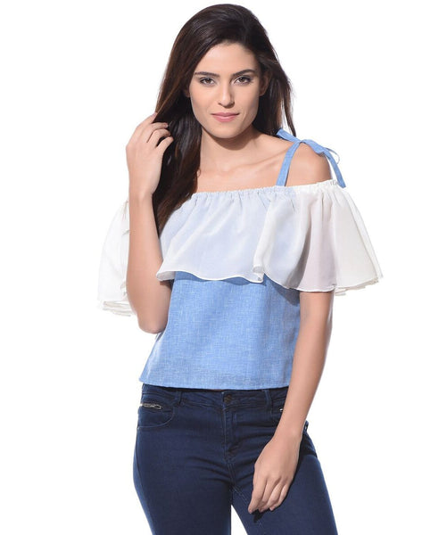 Denim Off Shoulder Tie Up Chambray Top. FLAT 20% OFF