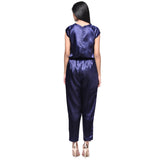Blue Satin Neck Cut-out Jumpsuit